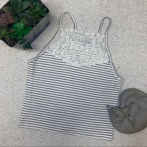 Cami Lace Crop Top with Stripes